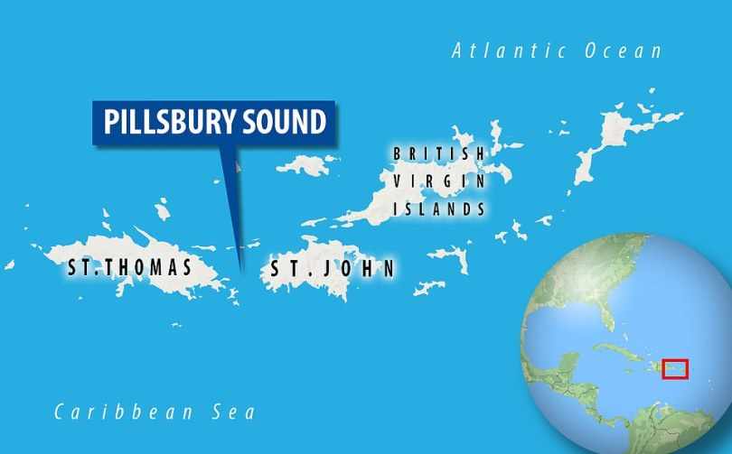 Pillsbury Sound, the stretch of water separating St. John from St. Thomas, is referred to locally as the ¿washing machine¿ because of powerful rip currents that occur where the Caribbean Sea meets the Atlantic Ocean