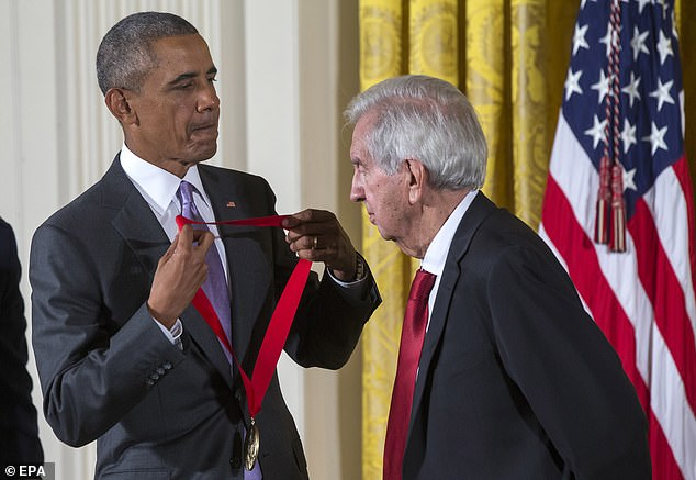 Serious achievement: In 2014, McMurtry was awarded theNational Humanities Medal for his work as a writer; he is seen receiving the medal from then-President Barack Obama