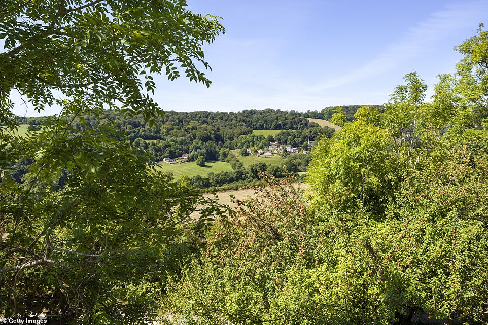 A view of thehoneyed-stone Gloucestershire village of Slad fromSwift's Hill. The village is where author and poet Laurie Lee grew up