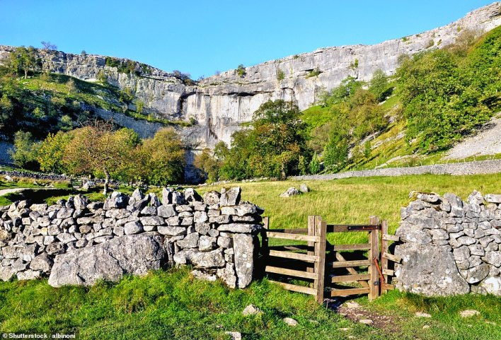 The astonishing Malham Cove, one of the sights on a five-mile hike from and back to enchanting Malham in the Yorkshire Dales