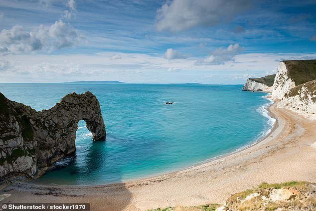 The Jurassic Coast, pictured, is just a half-hour drive from Brewery Farm, a campsite in Dorset