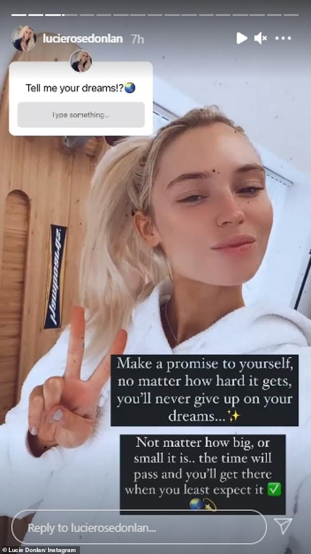 Great question;  Lucie took her stories to Instagram on Friday where she asked her followers to tell her what their dreams were.