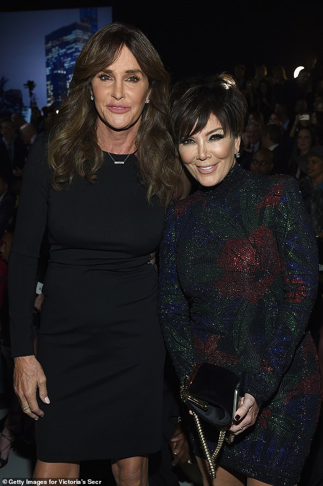 "Model behavior: Khloé credited her stepfather Caitlyn Jenner and father Robert Kardashian for their civility even when they weren't friends at first.  ""We didn't know that because they never spoke badly about each other,"" she explained;  Jenner seen with Kris Jenner in 2015"