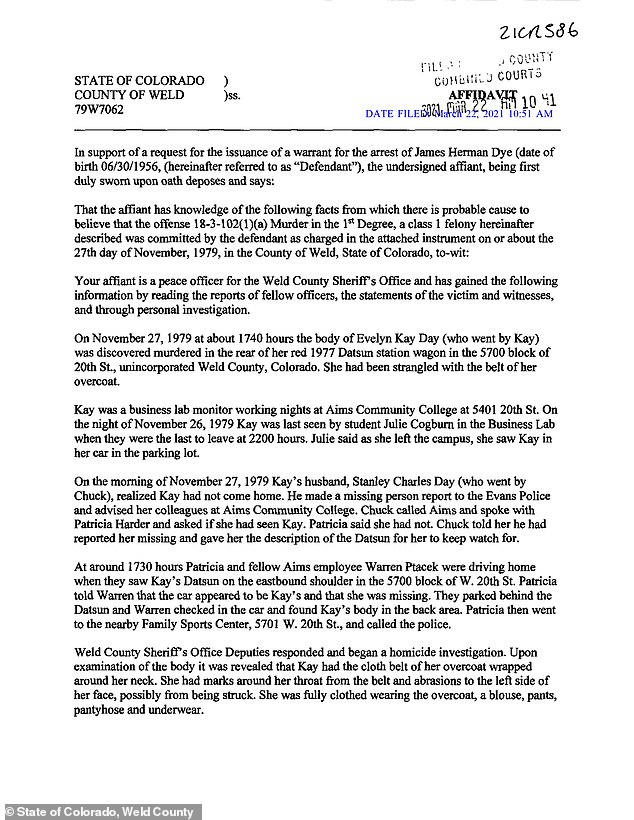 The arrest affidavit calling for the arrest of the murder suspect