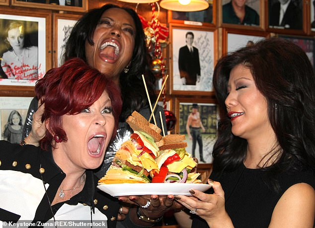 Osbourne (left) has furiously denied claims she called former co-host Julie Chen (right) a 'wonton' and 'sidelong eyes' behind the scenes of The Talk