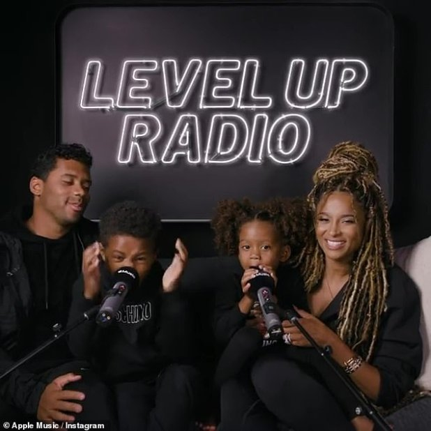 The gangs are all here!  Towards the end of the radio show snippet, Ciara and Russell were joined by their daughter Sienna and son Future, whom Ciara shares with her ex Future.