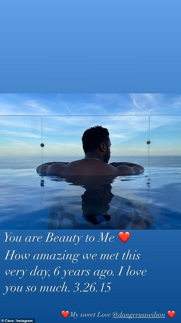 The apple of his eye: 'You are a beauty to me,' Ciara captioned in a candid photo of Russell in an infinity pool.  'How amazing we met this very day, 6 years ago.  I love you.  3.26.15 '