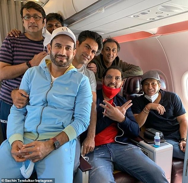 Tendulkar (far right) posted this picture with ex team-mates Yuvraj Singh (front second right), Mohammad Kaif (front third from right), Irfan Pathan (far left in blue), Rohan Gavaskar (back right) and sports scientist Vaibhav Daga (back left) after Sunday's Indian Legends event