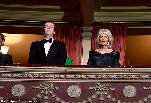 Tom Parker Bowles and Camilla, Duchess of Cornwall watch The Olivier Awards in 2019
