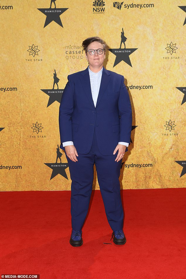 Looking great:Comedian Hannah Gadsby, 43, (pictured) chose a chic blue suit with a powder blue shirt underneath, and two-toned dress shoes