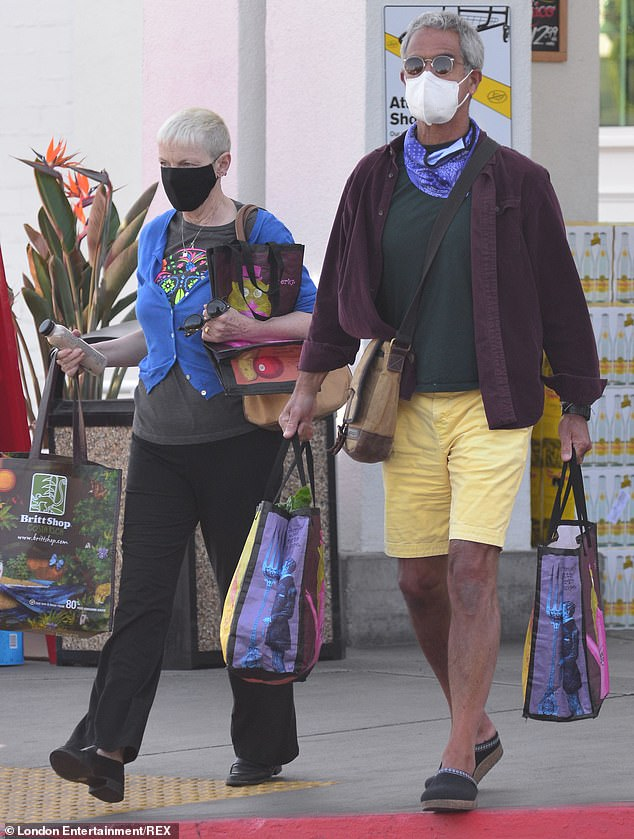 Stepping out:Annie Lennox and her husband Mitchell Besser made a rare public outing together on Friday, as they stocked up on supplies at a supermarket