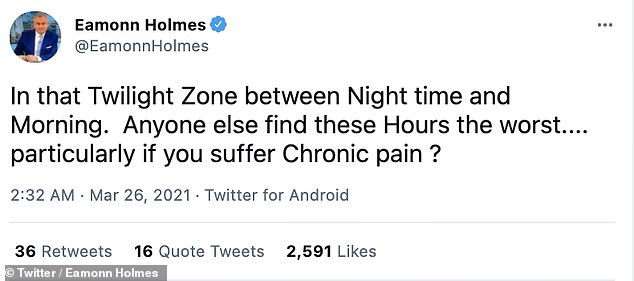 Candid: Eamonn opened the conversation to his followers, with many replying saying they too were struggling to get to sleep