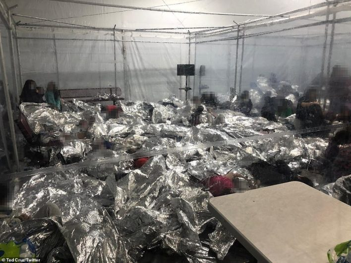 Republican Senators Ted Cruz held a tour of facilities Friday and said that 'pods' at the Donna center in Texas (above) designed to hold 80 children are packed with more than 700