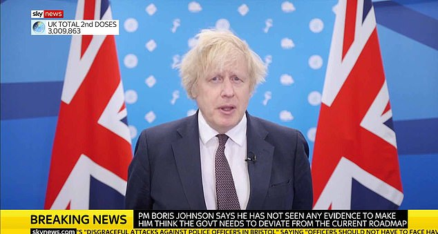 The news came as a buoyant Boris Johnson hailed the relaxation of lockdown rules starting tomorrow, 'Happy Monday', when gatherings of up to six people or two full households will be allowed in parks or in back gardens and golf, tennis and team sports can resume