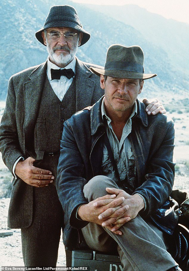 Harder than expected: Discussions about a fifth entry in the series began shortly after the release of the fourth film in the franchise, although the project quickly entered development hell (Harrison seen with his costar Sean Connery in 1989's Indiana Jones and The Last Crusade)