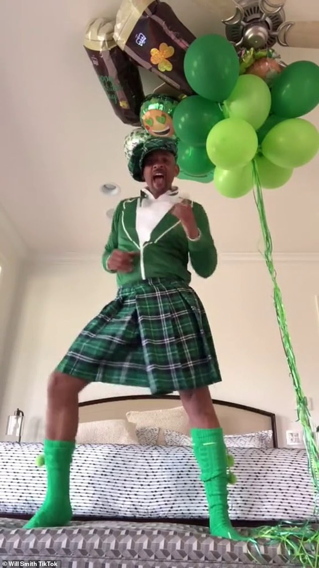 """Squeaky memories: The video of him dancing in a kilt racked up 21.5 million views with Gia telling E!  News: """"I couldn't believe it.  I love Will Smith and thought it was really cool that he did that '"""