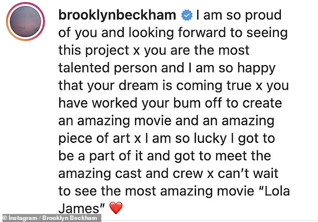 Smitten: Brooklyn gushed over his future wife in a caption shared to Instagram on Friday to celebrate their time together on the set of Lola James