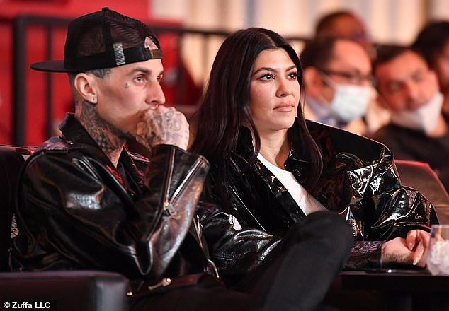 Date night: Travis Barker and Kourtney Kardashiantreated themselves to an evening out on Saturday as they attended the highly anticipated UFC 260 event, which took place at the UFC APEX in Las Vegas