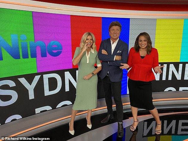 Shut down: The Nine Network was the target of a cyber attack on Sunday which disrupted its live programming out of Sydney. Weekend Today hosts Rebecca Maddern (left),Richard Wilkins (centre) andJayne Azzopardi (right) were unable to broadcast