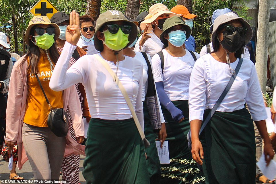 UN Secretary-General Antonio Guterres said he was shocked by the killings of civilians, including children on Saturday, when protests coincided with the annual Armed Forces Day holiday and parade in the country's capital, Naypyitaw. Pictured: Protesters march in Dawei on Sunday