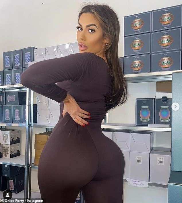 Recurring theme: Chloe recently showed off her curves in an all-in-one chocolate-coloured bodysuit from her own clothing range, but was once again accused of Photoshopping her snaps