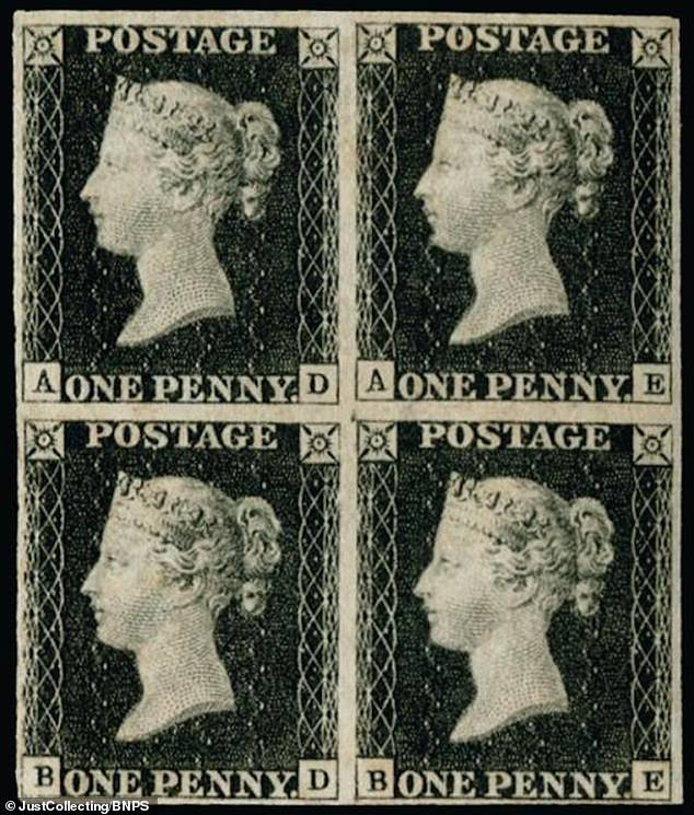 The rare block of four Penny Blacks has emerged for sale for £80,000 with auctioneers Just Collecting, of St Helier in Jersey