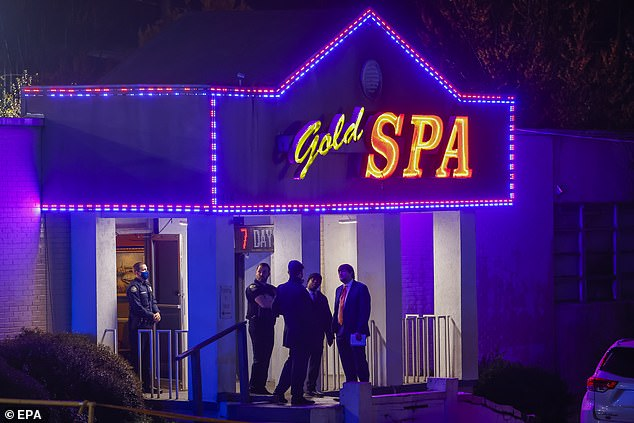Earlier this month eight people - including six Asian women - were shot dead in a string of shootings at Atlanta spas including the Gold Spa (pictured)