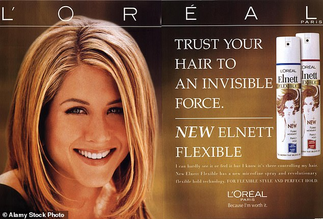 Ilon Specht, who was 23 and part of the creative team working on the L'Oréal account scripted the campaign which changed the way beauty was sold to women forever (pictured: Jennifer Anniston in a 2000s L'Oréal advert)