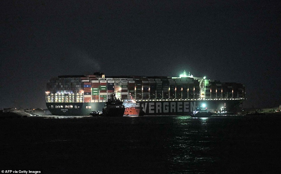 Rescue teams have intensified excavation and dredging efforts around the Ever Given container ship after high tides were created by the full moon