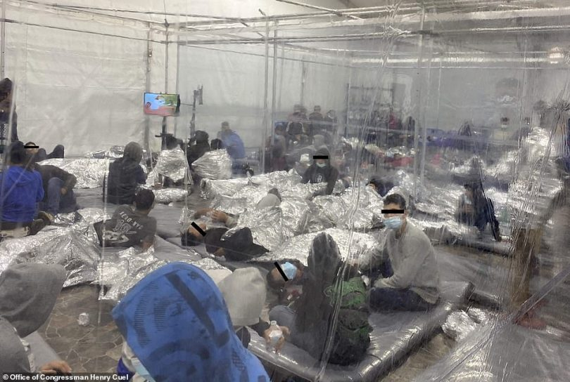 Unaccompanied children at a holding facility in Donna, Texas are seen in a handout photograph courtesy of the Office of Congressman Henry Cuellar, released on March 22