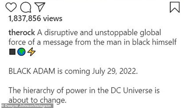 It's on: The Rock accompanied the visual teaser with the caption: 'The hierarchy of power in the DC Universe is about to change'