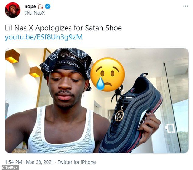 On Sunday, the rapper, whose real name is Montero Lamar Hill, put out a short YouTube video on Sunday titled 'Lil Nas X Apologizes for Satan Shoe'