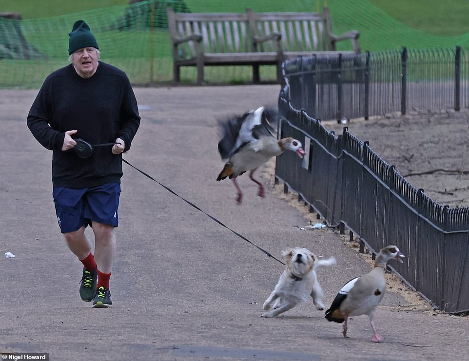 Boris Johnson - pictured out running this morning - will hold a press conference in his new £2.6million Downing Street briefing room this evening as he urges the public to 'remain cautious'