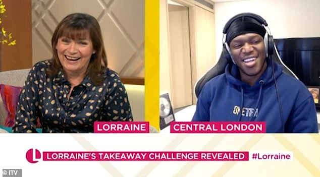 Discombobulated: Smiling broadly, KSI admitted, 'I was so confused when you had the whole cramp thing and the mouse! I was like, what is going on in that studio?'