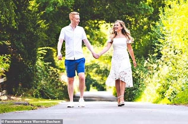 Jonny, a solicitor, said reducing their guests to such a small number was actually easier than having to choose 15 or 30 (pictured together on what would have been their wedding day in August)