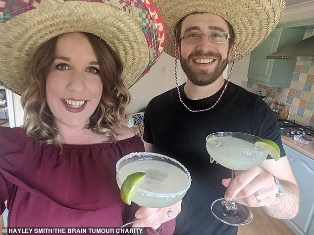 Hayley Smith (left), 30, from West Lothian, Scotland, whose husband Matt (right) was diagnosed with brain cancer in July 2016, creates fun events with an international spin at home during lockdown, including a Mexican night