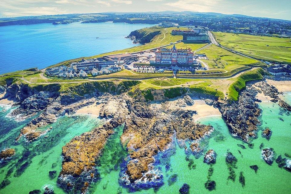 The Headland hotel in Newquay is a sight to behold with its turrets and terraces. And the coastline is eye-catching, too