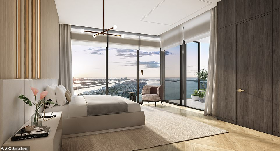 A rendering showing what one of the residences inside the tower could look like. The buildinghas been designed by Sieger Suarez Architects in collaboration with Carlos Ott, with the interiors by California-based interior design firm BAMO