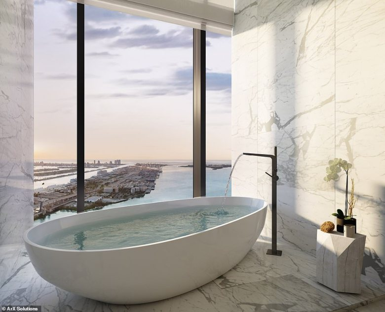 One of the architects who has designed the tower said: 'We've captured views at Waldorf Astoria Residences Miami that residents and travellers have yet to experience in this city'