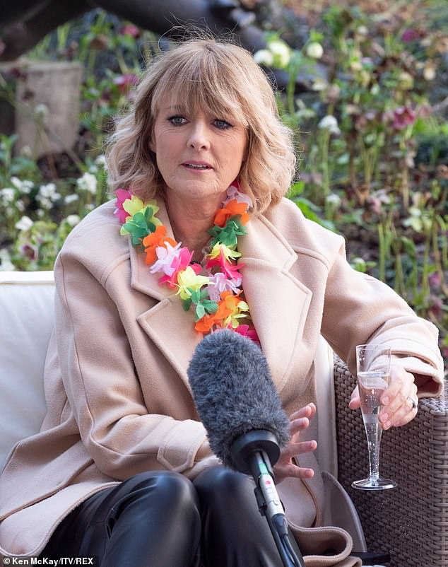 Indulge yourself: Jane Moore also indulged herself as she spoke with her co-stars at the outdoor party