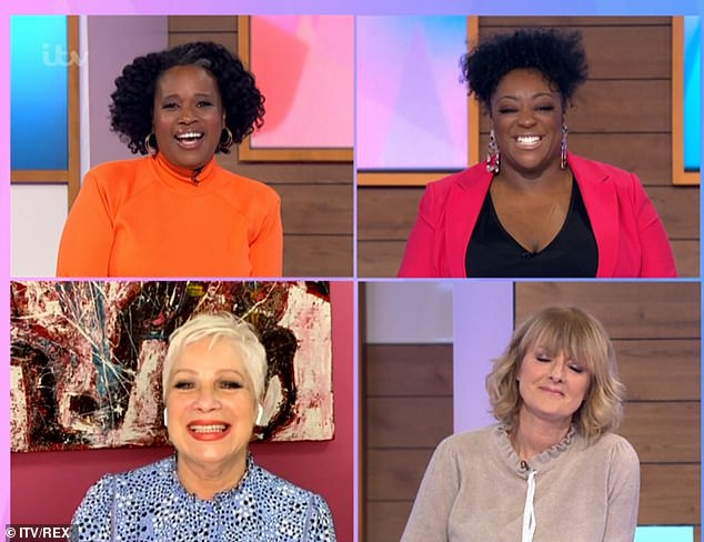 Show: Charlene White, Judi Love and Jane Moore did most of the show in the studio alongside Denise Welch, who joined remotely, before stepping out