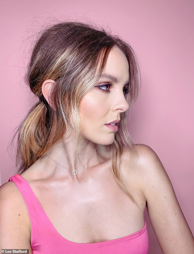 For a glam evening look, Lee recommends a using face framing tendrils of hair over the straps of face masks