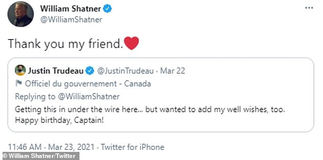 'Thank you my friend': On March 22, the French-Canadian nonagenarian received a birthday shout-out from Canadian Prime Minister Justin Trudeau