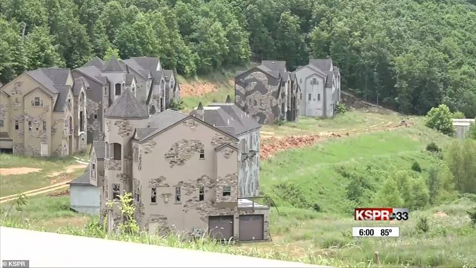 The eerie collection of abandoned condominiums near Table Rock Lake are visible from Route 76 in Missouri