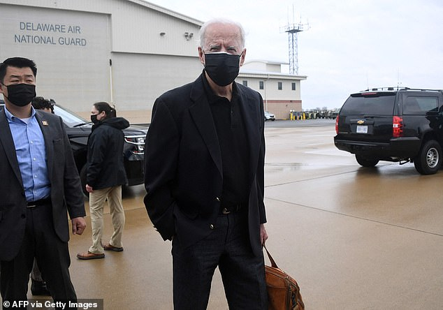 President Joe Biden speaks to the press before boarding Air Force One after spending the weekend in Wilmington, at New Castle airport in New Castle, Delaware on March 28, 2021. He has said Harris is the last person in the room for key decisions