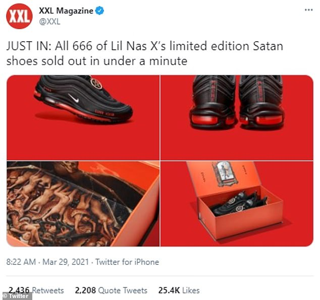 $700K richer:Lil Nas X collaborated with streetwear company MSCHF on the black and redmodified Nike Air Max 97s (though Nike is not involved) that contain a drop of human blood in the sole