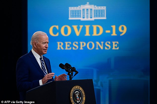 'I'm reiterating my call for every governor, mayor and local leader to reinstate the mask mandate,' Biden said during remarks on the pandemic Monday. 'Please, this is not politics. Reinstate the mandate if you let it down'