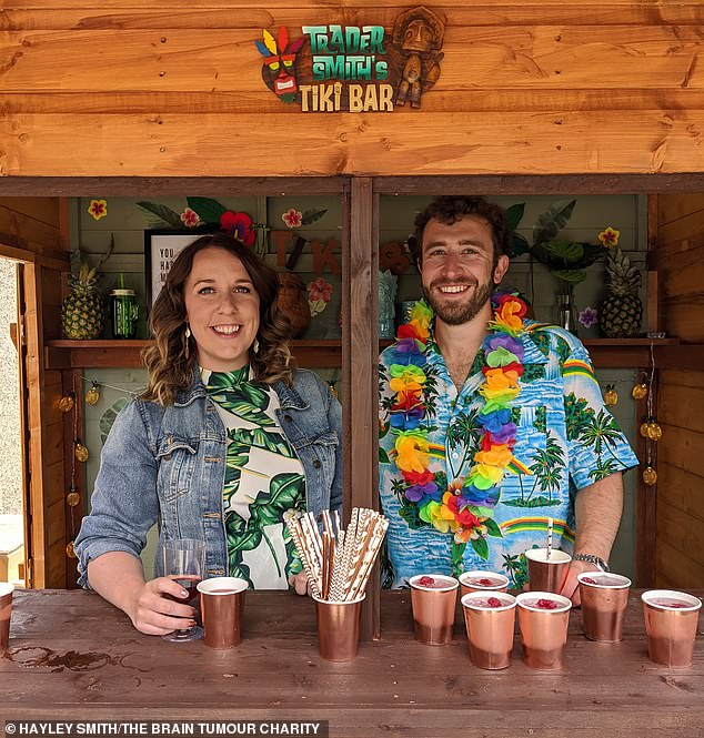 For Hayley's 30th birthday in 2020, the couple held a Tiki garden party, complete with a hut, gold paper straws and metallics disposable cups