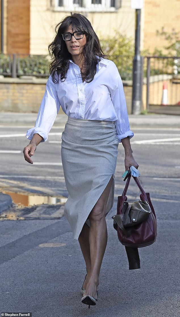 Summer chic: Adding height to her frame with a pair of beige heels, the star looked glamorous as she made her way home