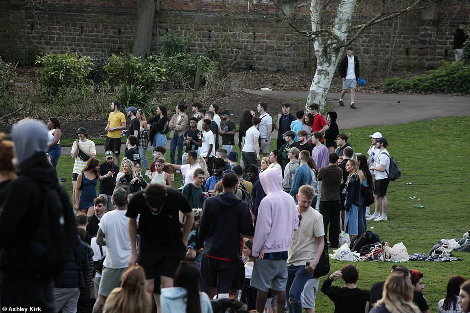 Britons gathered together in Nottingham city centre on Monday as coronavirus restrictions were eased across the country